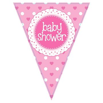 Oaktree Baby Shower Vlaggenlijn Dots & Hearts Pink (Holografisch) - per stuk