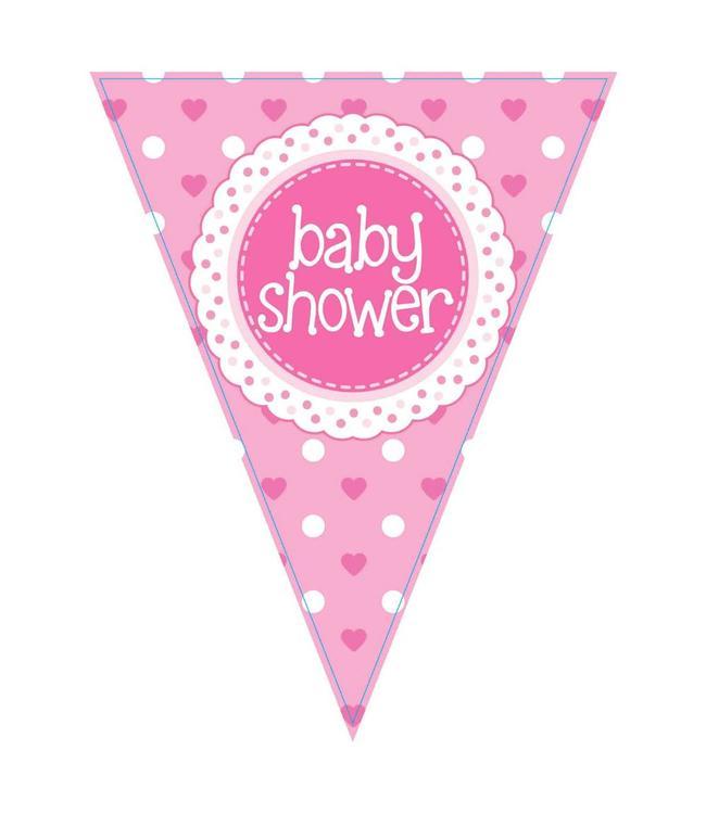 Oaktree Baby Shower Vlaggenlijn Dots & Hearts Pink (Holografisch) - per stuk  - Babyshower Feestartikelen