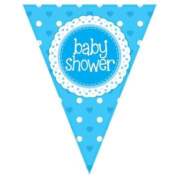 Oaktree Baby Shower Vlaggenlijn Dots & Hearts Blue (Holografisch) - per stuk