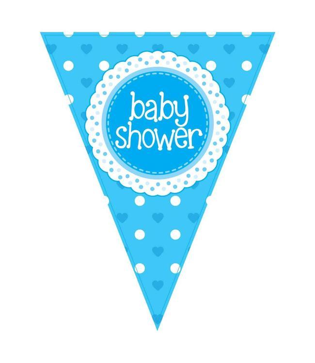Oaktree Baby Shower Vlaggenlijn Dots & Hearts Blue (Holografisch) - per stuk  - Babyshower Feestartikelen