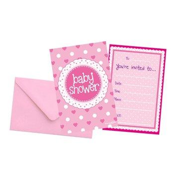 Oaktree Baby Shower Uitnodigingen Dots & Hearts Pink - 8 stuks