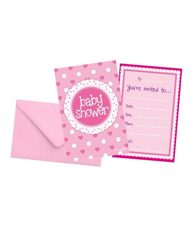 Oaktree Baby Shower Uitnodigingen Dots & Hearts Pink - 8 stuks  - Babyshower Feestartikelen