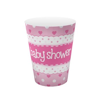 Oaktree Baby Shower Bekers Dots & Hearts Pink - 8 stuks