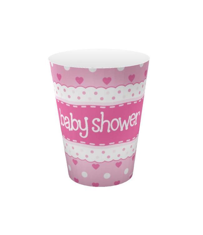 Oaktree Baby Shower Bekers Dots & Hearts Pink - 8 stuks - Baby shower feestartikelen