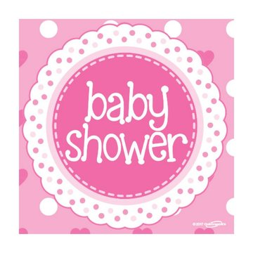 Oaktree Baby Shower Servetten Dots & Hearts Pink - 16 stuks