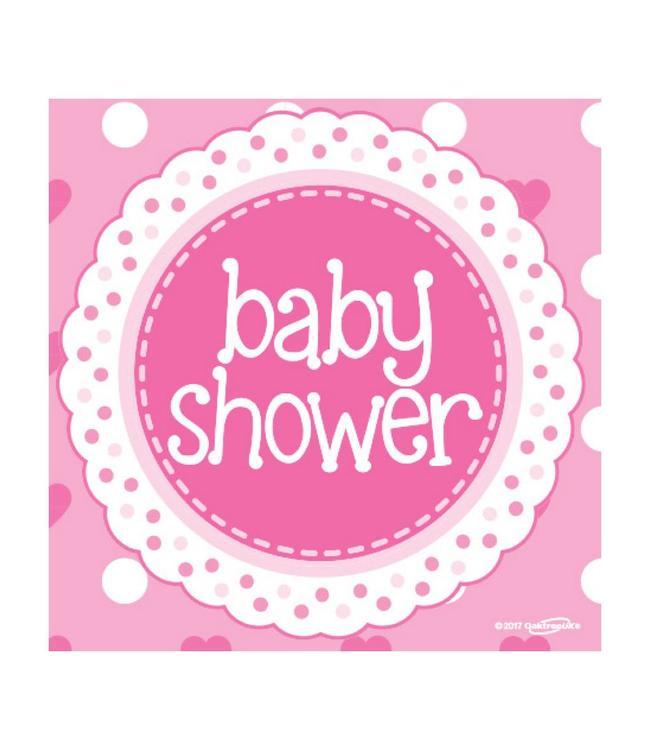 Oaktree Baby Shower Servetten Dots & Hearts Pink - 16 stuks - Babyshower feestartikelen