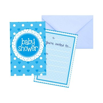 Oaktree Baby Shower Uitnodigingen Dots & Hearts Blue - 8 stuks