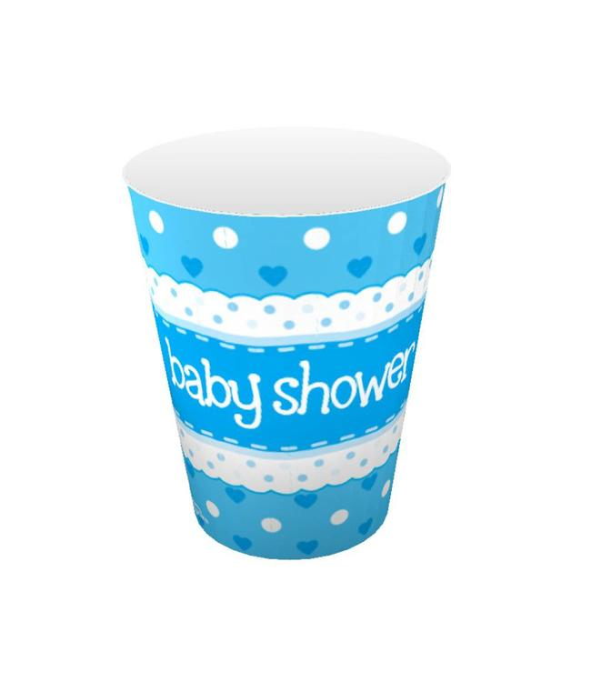 Oaktree Baby Shower Bekers Dots & Hearts Blue - 8 stuks - Babyshower feestartikelen