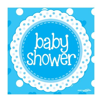 Oaktree Baby Shower Servetten Dots & Hearts Blue - 16 stuks