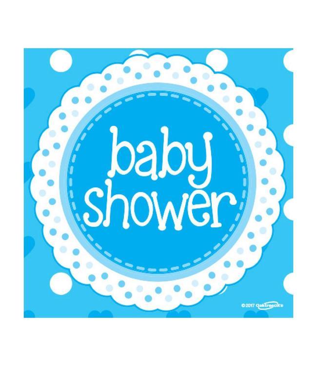 Oaktree Baby Shower Servetten Dots & Hearts Blue - 16 stuks - Babyshower feestartikelen