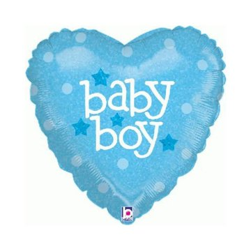 Betallic Baby Boy Hart Folieballon (Holografisch)- per stuk - 45 cm