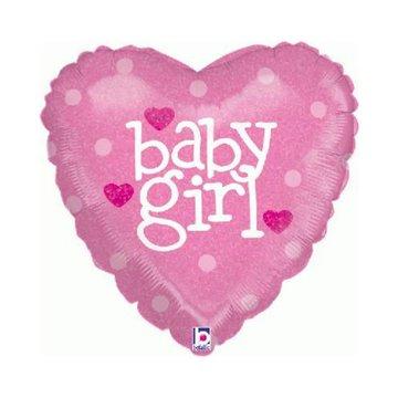 Betallic Baby Girl Hart Folieballon (Holografisch)- per stuk - 45 cm