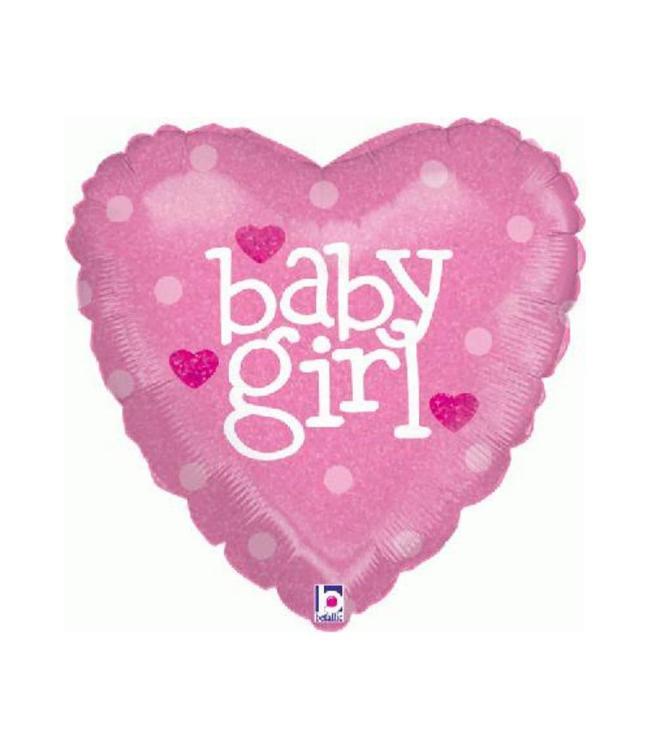 Betallic Baby Girl Hart Folieballon (Holografisch) - per stuk - 45 cm