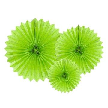 Partydeco Papieren Waaiers Groen - 3 stuks - 3 maten - Tissue Fans