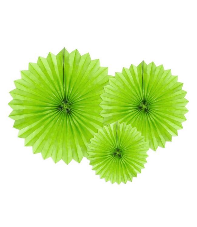 Partydeco Papieren Waaiers Appel Groen - 3 stuks - 3 maten - Tissue Fans