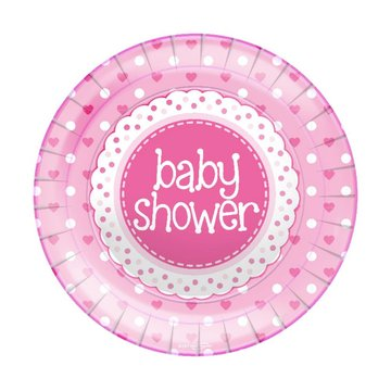 Oaktree Baby Shower Borden Dots & Hearts Pink - 8 stuks