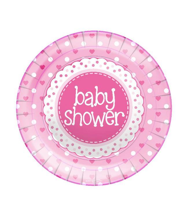Oaktree Baby Shower Borden Dots & Hearts Pink - 8 stuks