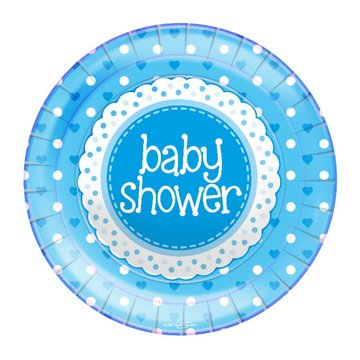 Oaktree Baby Shower Borden Dots & Hearts Blue - 8 stuks