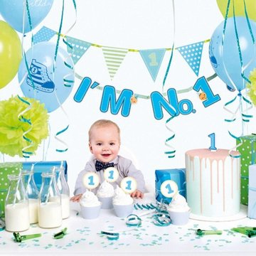 Partydeco Feestpakket I'm No 1 Blauw - set van 42 items - Party box voor de eerste verjaardag