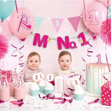 Partydeco Feestpakket I'm No 1 Roze - set van 42 items - Party box voor de eerste verjaardag