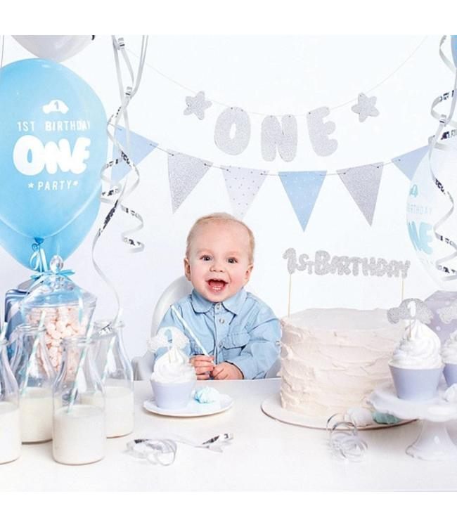 Partydeco Feestpakket ONEderful Blauw - set van 33 items - Party box voor de eerste verjaardag