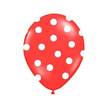 Partydeco Polka Dots Ballonnen Rood met Witte stippen - 6 stuks