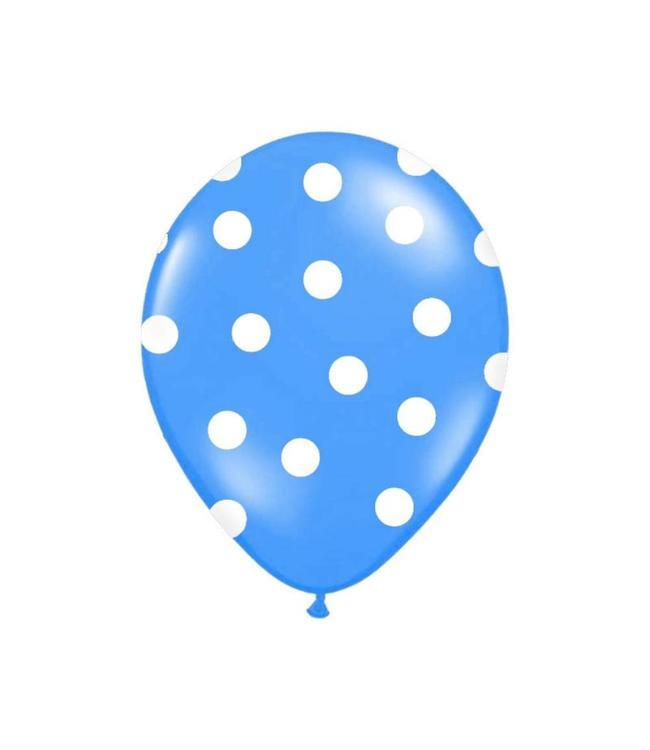 Partydeco Polka Dots Ballonnen Blauw met Witte stippen - 6 stuks