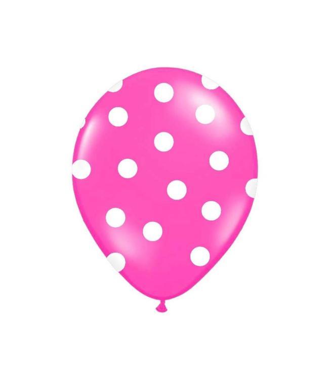 Partydeco Polka Dots Ballonnen Roze met Witte stippen - 6 stuks
