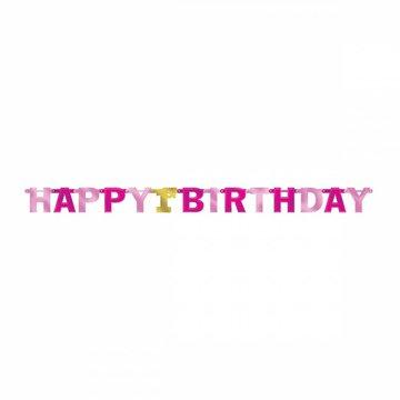 Amscan Happy 1st Birthday Slinger Roze & Goud - per stuk - 2,1 meter