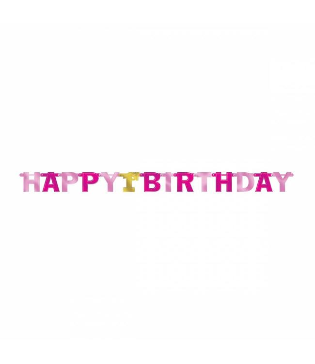 Amscan Happy 1st Birthday Slinger Roze & Goud - per stuk - 2,1 meter - 1 jaar slinger