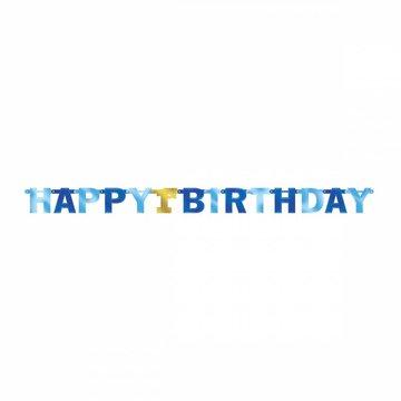Amscan Happy 1st Birthday Slinger Blauw & Goud - per stuk - 2,1 meter