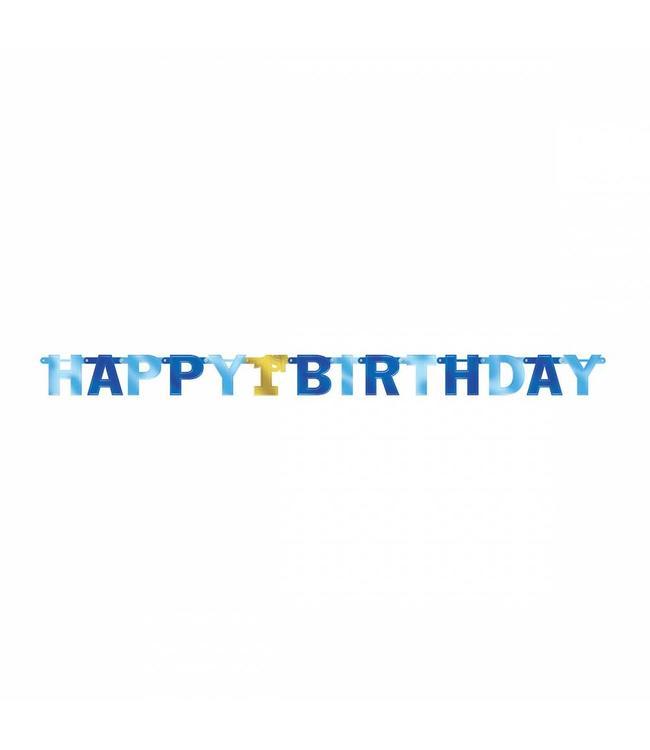 Amscan Happy 1st Birthday Slinger Blauw & Goud - per stuk - 2,1 meter - 1 jaar slinger