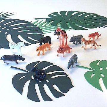 Amscan Jungle Dieren Miniaturen - 12 stuks - Wilde dieren  figuren