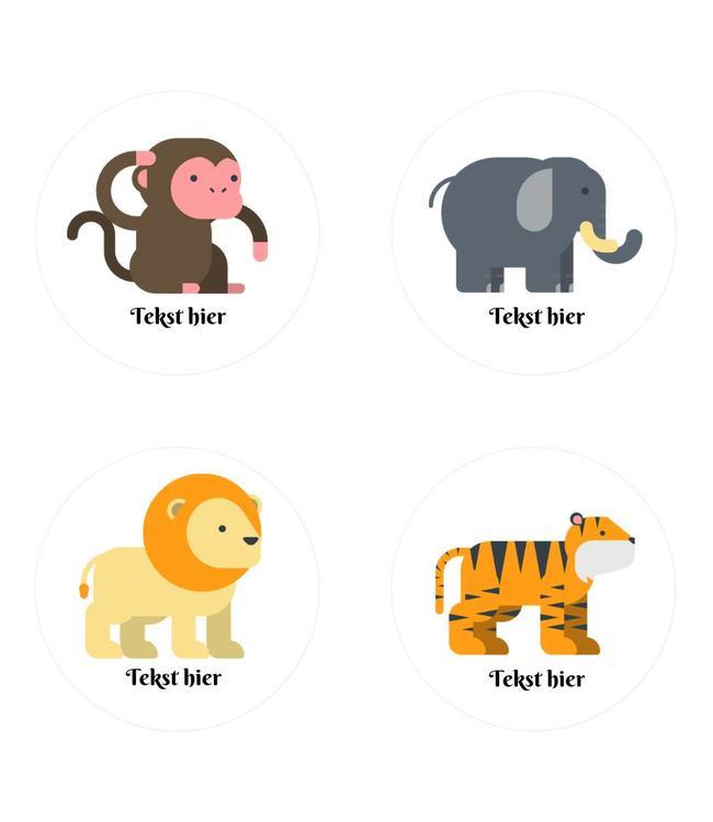 Hieppp Traktatie Stickers Jungle Dieren - Rond - Personaliseer
