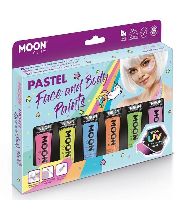 Moon Creations Face & Body Paints Box Pastel Neon - set - Schmink