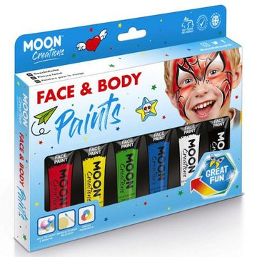 Moon Creations Face & Body Paints Box Primaire Kleuren - set - Schmink