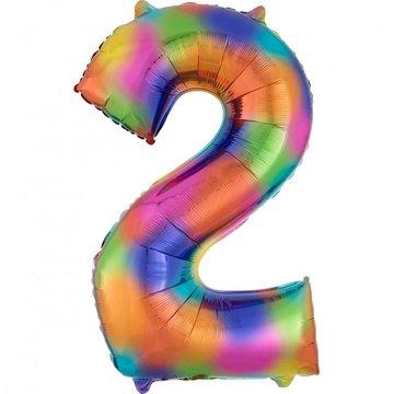 Amscan XL Cijfer 2 Folieballon Rainbow Splash - 83 cm