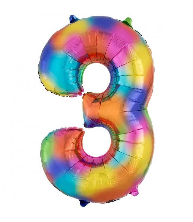 Amscan XL Cijfer 3 Folieballon Rainbow Splash - 86 cm