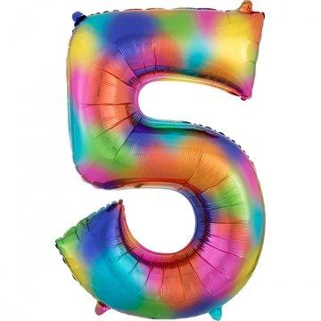 Amscan XL Cijfer 5 Folieballon Rainbow Splash - 86 cm