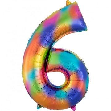 Amscan XL Cijfer 6 Folieballon Rainbow Splash - 86 cm