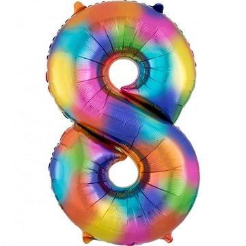 Amscan XL Cijfer 8 Folieballon Rainbow Splash - 86 cm