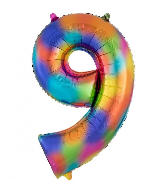 Amscan XL Cijfer 9 Folieballon Rainbow Splash - 86 cm