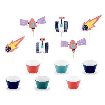 Partydeco Space Party Cupcake Toppers en Wrappers - set van 6