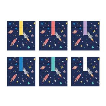 Partydeco Space Party Traktatie Zakjes met Stickers - 6 stuks - Space traktaties