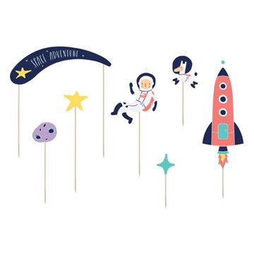 Partydeco Space Party Cake Toppers (DIY) - 7 stuks - Space feestartikelen en versiering
