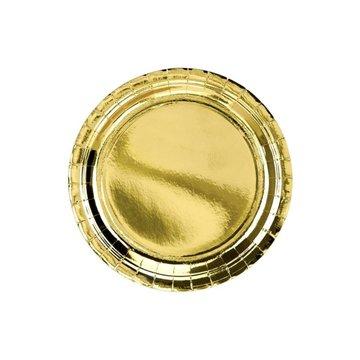 Partydeco Gouden Borden Metallic - 6 stuks - 23 cm - feestartikelen en versiering goud