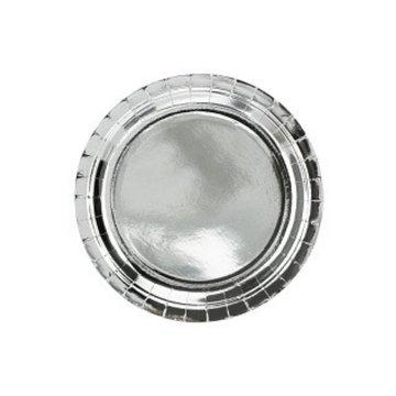 Partydeco Zilveren Borden Metallic - 6 stuks - 23 cm - feestartikelen en versiering zilver
