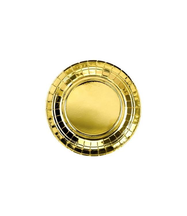 Partydeco Gouden Bordjes Metallic - 6 stuks - 18 cm - feestartikelen en versiering goud