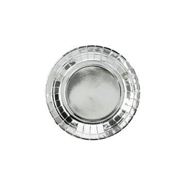 Partydeco Zilveren Bordjes Metallic - 6 stuks - 18 cm - feestartikelen en versiering zilver