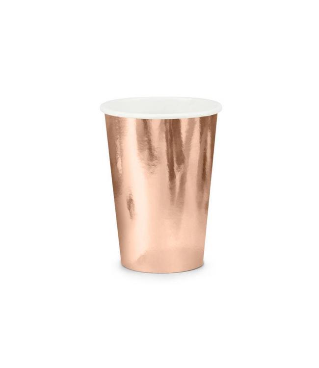 Partydeco Roségouden Bekers Metallic - 6 stuks - feestartikelen en versiering rose goud